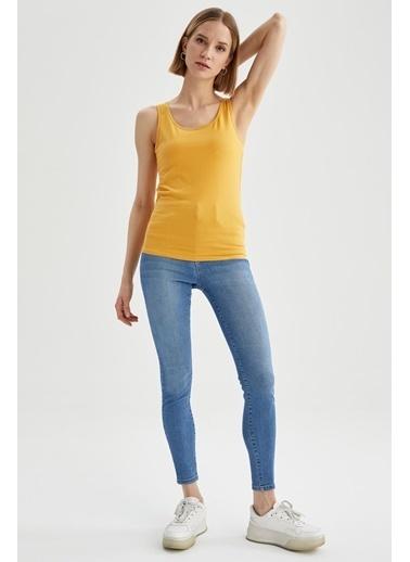 DeFacto Askılı Basic Slim Fit Atlet Sarı